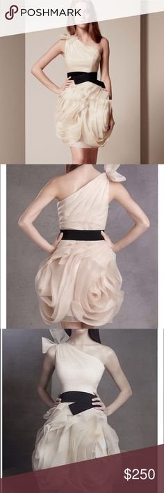 Vera wang gorgeous dress 0 Brand new with tags. Gorgeous on with rose  bud detail. One shoulder bow detail. Look at table for measurements. Belt included Vera Wang Dresses One Shoulder