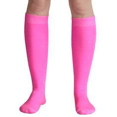 ad98122b6 Bright neon pink solid colored knee highs. See our entire line of PINK socks .