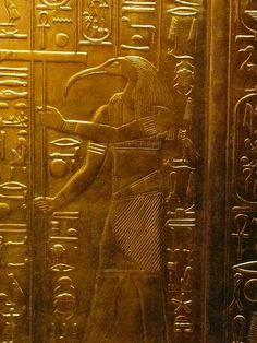Thoth is typically depicted with the head of an ibis. His main duty is that of maintaining the universe (including reckoning time). But he also manifests as A'an, the god of equilibrium, in which case he is portrayed as a baboon. From the solid gold sarcophagus of King Tutankhamen.
