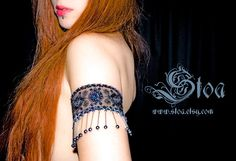Midnight Blue Gothic Tribal Fusion Belly Dance Armband