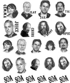 Sons of Anarchy Cast. Many SOA designs to choose from