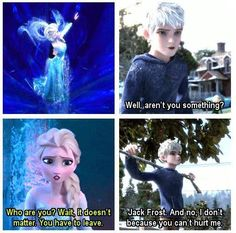 Queen Elsa and Jack Frost. :P Jack just seems so calm about that. Which might actually worry Elsa more at first until he showed her that he was Jack Frost.