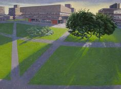 """""""Brunel University, Late Afternoon Sun"""" by Alan Bennett. Includes the Library on…"""