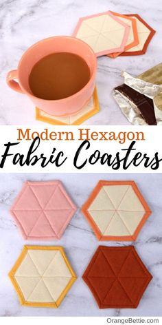 Quilted Coasters, Fabric Coasters, Diy Coasters, Sewing Lessons, Sewing Hacks, Sewing Tutorials, Sewing Crafts, Tutorial Sewing, Upcycled Crafts