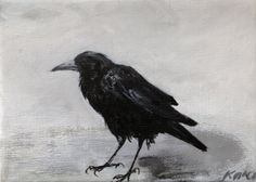 Crow+original+painting+5+x+7+by+tintabernacle+on+Etsy,+$65.00