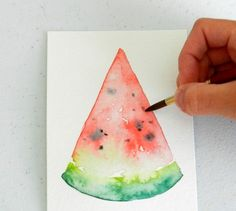 Find out How to Paint Seeds on a Watermelon in Watercolor