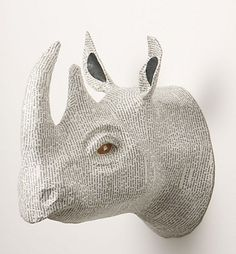 Savannah Story Bust, Rhino: Layers of repurposed cement bags are covered with vintage French book pages to create this handmade, papier mache animal head Paper Mache Animals, Faux Taxidermy, Crochet Taxidermy, Animal Heads, Art Plastique, Home Wall Art, Savannah Chat, Barn, Wine Bottle Crafts