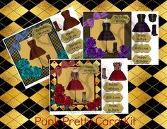 Pretty In Punk Downloadable Card Making Kit by KiwiCardHouse on Etsy