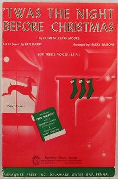 Vintage Christmas Sheet Music ~ 'Twas The Night Before Christmas ©1954
