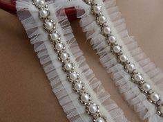 Ivory Lace Trim Beads with Rhinestone Trims Bridal by lacelindsay