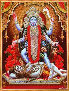 Hindu Deity Goddess Kaali Standing On God Shiva Glittered Print In India Durga Kali, Kali Hindu, Kali Mata, Shiva Shakti, Hindu Art, Kali Goddess, Indian Goddess, Maa Kali Images, Shiva Wallpaper