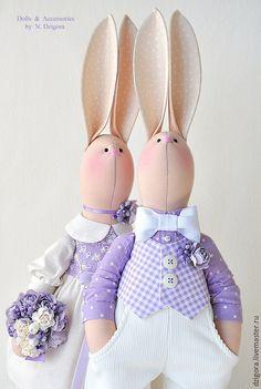 Купить Love Story в сиреневых тонах - зайцы, кролики, игрушка заяц, игрушка зайка