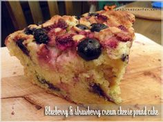 Blueberry & strawberry cream cheese pound cake by meiteoh, via Flickr