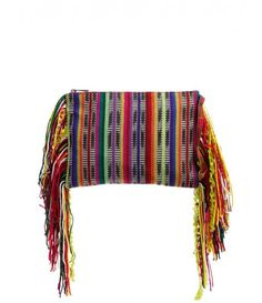 Woven Clutch Bag with Fringing