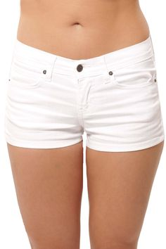 White Mid Rise Shorts By Eunina Jeans