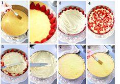 montaggio di una torta alle fragole