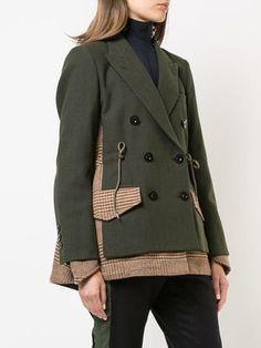 Sacai plaid and solid mix blazer Iranian Women Fashion, Womens Fashion, Batik Blazer, Coats For Women, Clothes For Women, Mode Mantel, Winter Stil, Apparel Design, Dress Codes