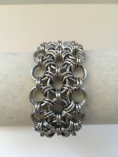 "1.25"" Wide Thin Lightweight Bright Aluminum Japanese Weave Chainmail Bracelet…"