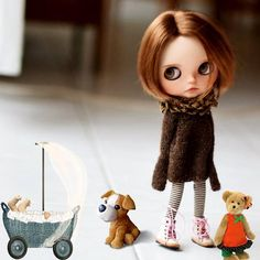 Cuddle Buddy, Doll Wigs, Custom Dolls, Blythe Dolls, Cuddling, Knitting Patterns, Kitty, Characters, Friends
