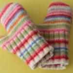 mittens made from wool scraps