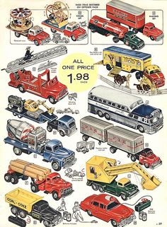 1957 Toy Truck - Promotional Advertising Poster-The Greyhound bus looks exactly like the one I had back then.