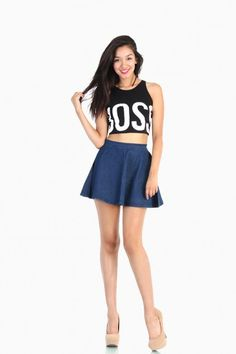 LoveMelrose.com From Harry & Molly | Royal Blue Skater Skirt ...