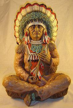 Massive Native American Indian Chief Sculpture