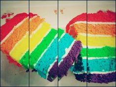 Rainbow cake has great taste! Yummy!