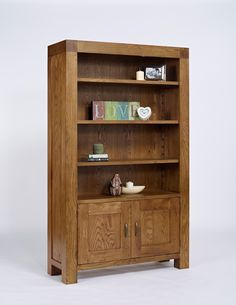 Santana Rustic Oak Bookcase With Cupboard - Ametis - By Collection