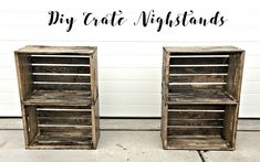 Ideas Crate Nightstand Diy Small Spaces For 2019 Dog Crate Table, Crate End Tables, Diy Dog Crate, Wooden Crates Projects, Small Wooden Crates, Wood Crates, Crate Nightstand, Crate Furniture, Nightstands