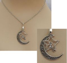 Silver Moon & Star Fairy Pendant Necklace Jewelry Handmade NEW Adjustable  #Handmade #Pendant http://www.ebay.com/itm/-/152299817224?ssPageName=STRK:MESE:IT