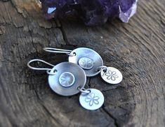 Sterling Silver Flower Earrings Flower Earrings Stamped