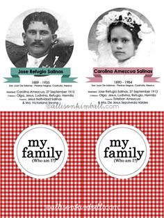 Family History Matching Game - fun activity to do with little ones History Activities, Fun Activities To Do, Family Reunion Games, Family Reunions, Family Roots, Family Search, Family Genealogy, Relief Society, Matching Games