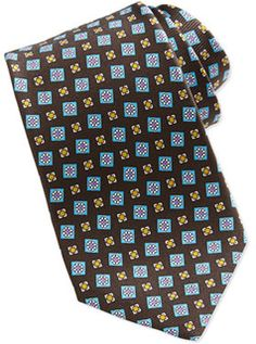 Brown Ties. Love Them ! #Kiton Tossed Squares Neat Printed Tie, Brown - 25% off, now $221.25 @ #NeimanMarcus #Kiton