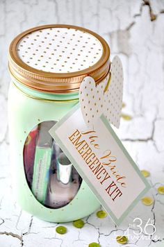 Mason Jar Crafts - The Bride Emergency Kit... So cute!