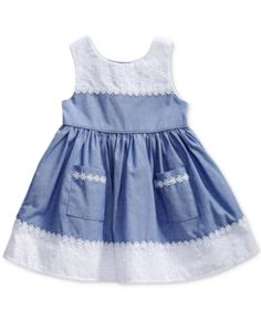 Sweet Heart Rose Chambray & Eyelet Dress, Baby Girls (0-24 months) - Blue 3-6 months