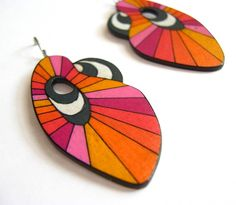 earrings by Broken Fingers Art- cando  ribbon of funky foam. colors are perfect