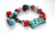 Handmade. LAMPWORK BRACELET.Beads blue orange by ManechkaCopper