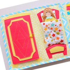 Quiet book Dollhouse # Felt book for girl doll house. Развивающая книжка для девочки Кукольный домик. The size of Book 23*25 cm, it has 6 game page, it included everything you need for game rooms (bedroom, closet, baby game room, bathroom, laundromat, kitchen, +dining room). The Doll has a full life in the games book: she cooks, dines, takes a bath, change clothes, lies down to sleep.  Pages:  1. Bedroom with wardrobe.  2. Baby game room. 3. Bathroom.  4. laundromat. 5. Kitchen.  6. Dining…
