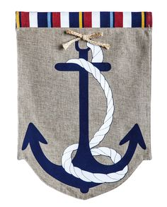 A bold blue anchor with a white rope wrapped around lends nautical-inspired style to the Evergreen Flag Anchor Garden Burlap Flag . This chic garden. Burlap Garden Flags, Burlap Flag, Burlap Fabric, Nautical Flags, Nautical Theme, Outdoor Flags, Outdoor Decor, Outdoor Areas, Outdoor Life