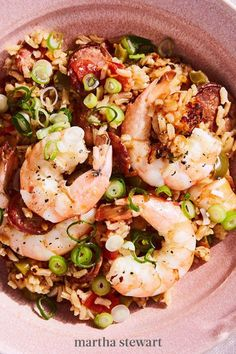 In just over one hour, build all the flavors of dinner from the South with green bell pepper, andouille sausage, garlic, and tomatoes. Shrimp are piled high atop the seasoned rice blend. #marthastewart #recipes #recipeideas #seafoodrecipes #seafooddinners #seafood Best Shrimp Recipes, Fish Recipes, Seafood Recipes, Yummy Recipes, Dinner Recipes, Yummy Food, Shrimp Salad, Pasta Salad, Scampi
