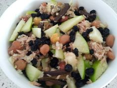 Apple, pineapple, roasted eggplant, chickpea and beans, currants, tuna and quinoa salad
