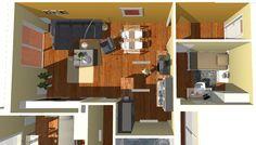 Vista de detalle de salón y dormitorio de entrada.