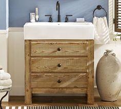 Mason Reclaimed Wood Single Sink Console | Pottery Barn