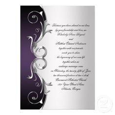 Vintage Purple Black and Silver Wedding Invitation | Pinterest ...
