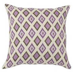 "Cotton pillow with a diamond motif. Made in the USA.   Product: PillowConstruction Material: 100% Cotton cover and hypo-allergenic polyester fillColor: GrapevineFeatures:  Zippered closureInsert included Dimensions: 17"" x 17""Cleaning and Care: Spot clean"