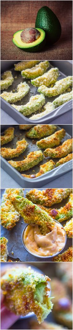 Healthy Crispy Baked Avocado Fries & Chipotle Dipping Sauce