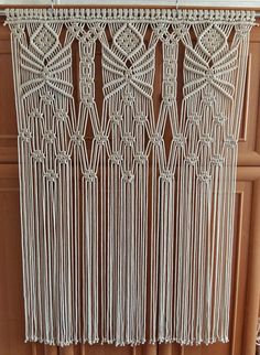 """Macrame curtain Wedding backdrop Modern macrame Cotton macrame wall hanging The item is made of 5 mm 100% cotton cord. It's both wall hanging and wedding backdrop. Heigth 140 cm (55"""") Width 96 cm (38""""). Curtain rod is 0.7"""" (20 mm) diamater and is not included. Item is strung to rope, and can be easily attached to any rod. (This is so it is able to be affordably shipped). Please kindly visit my shop to find more nice items"""