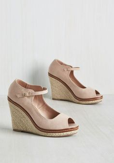 You Know the Espadrille Wedge in Blush - Blush, Solid, Braided, Casual, Pastel, Fall, High, Good, Wedge, Peep Toe, Variation, Pink, Pastel