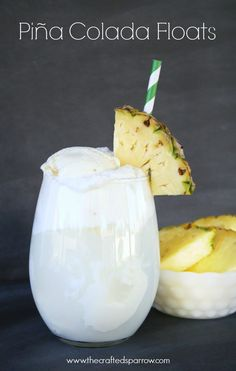 Piña Colada Floats.  The perfect summertime treat made with 7UP TEN, less calories with all the taste.  #pmedia, #flavorforless, #ad thecraftedsparrow.com